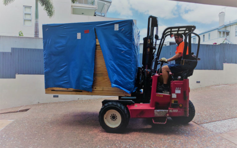 3DP Workbench shipping crate on forklift