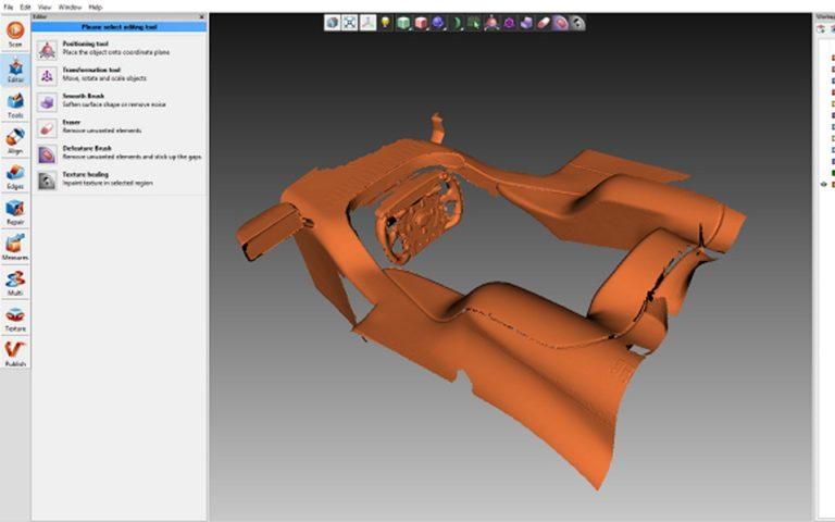 Artec Eva handheld 3d scanner used for racing car cockpit