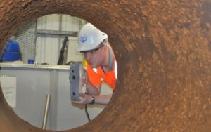 Artec Eva handheld 3d scanner used inside Thames Water pipe