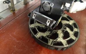Mechanism part 3D printed in Onyx and Kevlar on the Markforged Mark Two