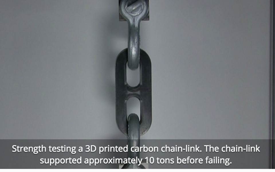 Strong 3D printed carbon fibre chain link