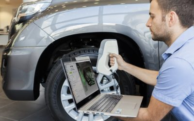 Artec 3D scanners Eva being used to scan a car wheel arch