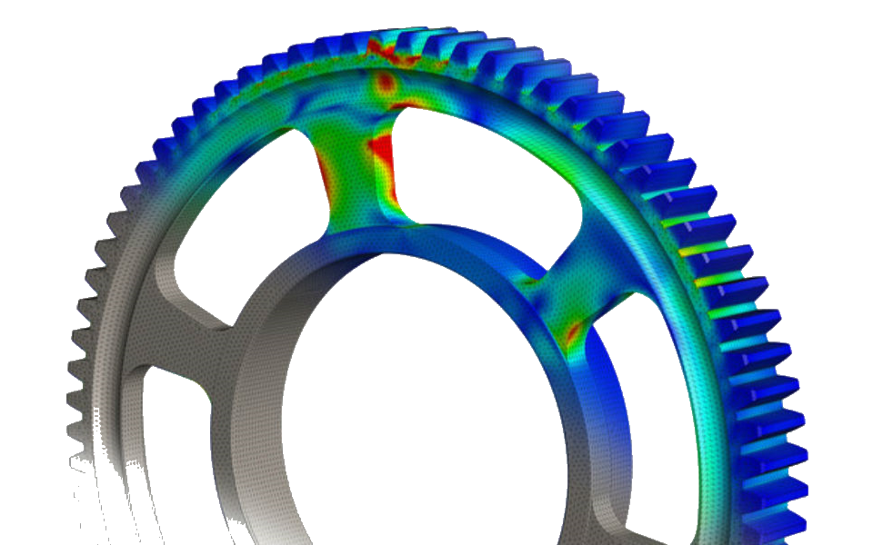 3DSL Solidworks FEA Mechanial stress on a gear Transparent Background